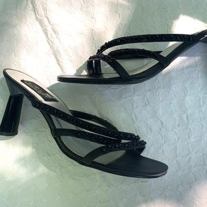 Shoes - Black high heel Strappy beaded sandal